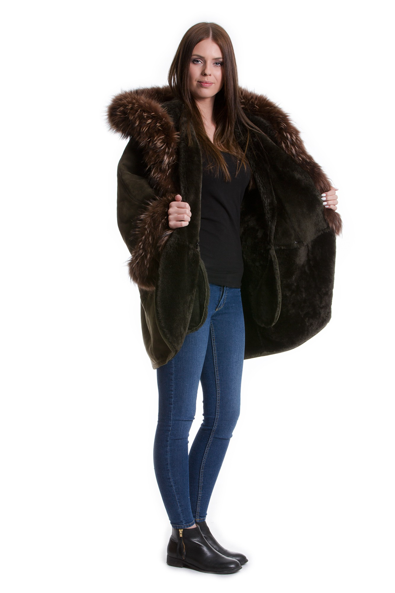 lammfell jacke mit fellkapuze fuchs echt pelz fell lamm 40 42 furs ebay. Black Bedroom Furniture Sets. Home Design Ideas