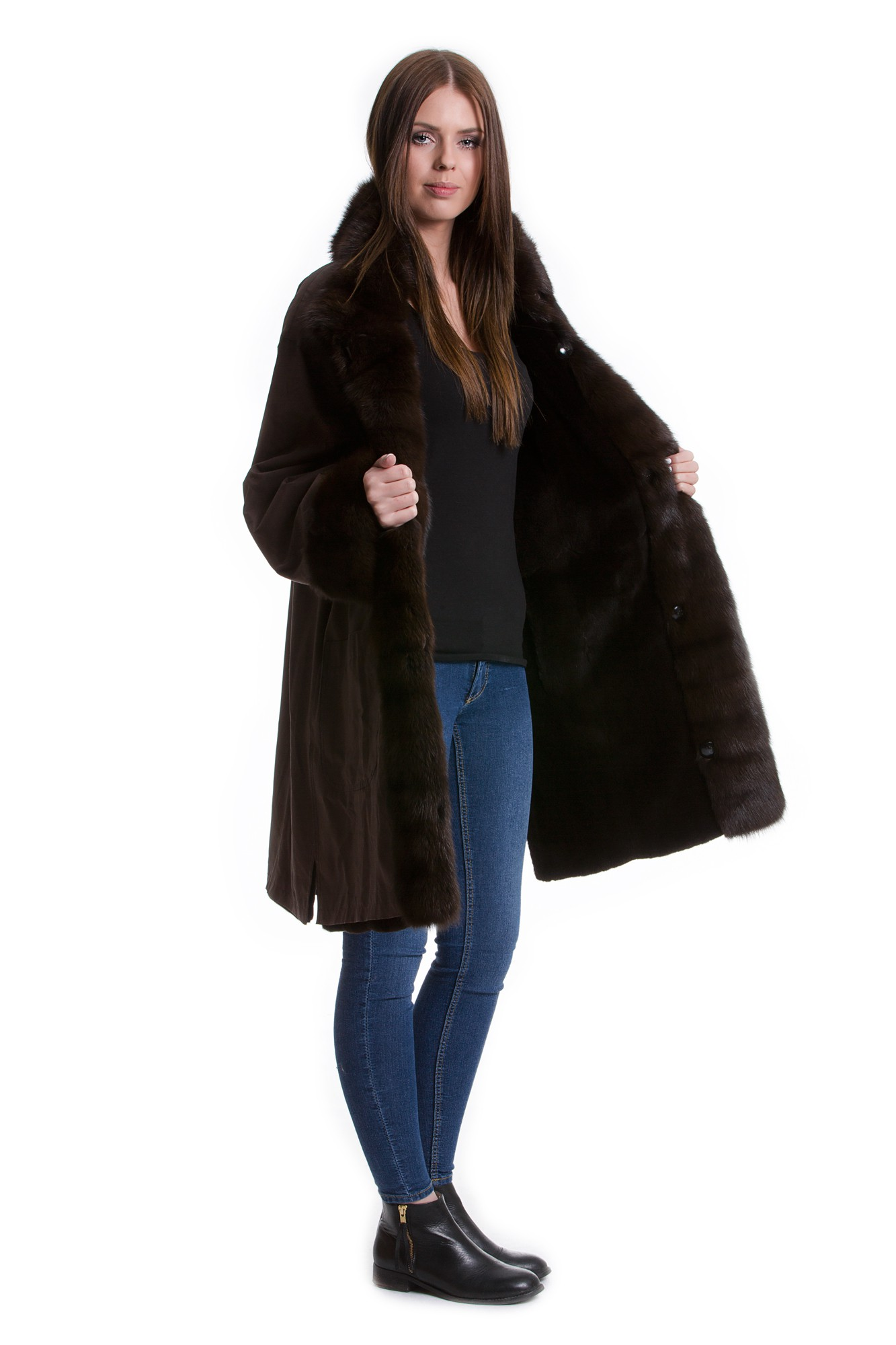 reversible jacket velvet weasel hair with sable fur fur collar 42 44 furs. Black Bedroom Furniture Sets. Home Design Ideas