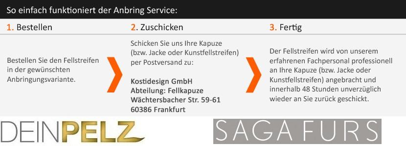 Der korrekte Ablauf Ihrer Fellkapuzen Bestellung inkl. Anbring Service