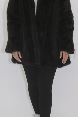 Fur jacket mink dark brown with hood