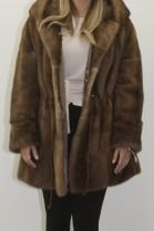 Fur - fur jacket mink pastel with hood