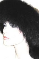 Blue Fox Fur Headband Ribbon Fur Headband - Black