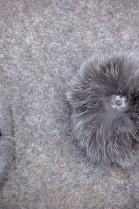 Strickmütze mit Inka Muster weiß/grau und Bluefrost Bommel