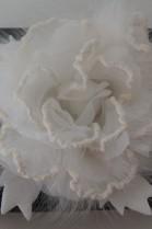 Fell Brosche weiße Rose zum anstecken Luxus Pelz Fashion