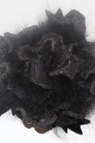 Fell Brosche schwarze Rose zum anstecken Luxus Pelz Fashion