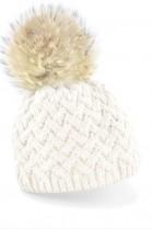Bommelmütze in weiß mit hellbraunem Fellbommel