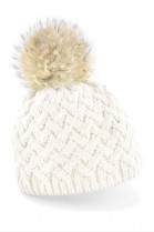 Bobble hat in white with light brown fur bobble