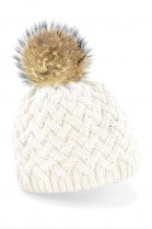 Bobble hat in white with brown fur bobble