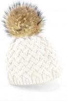 Bommelmütze in weiß mit braunem Fellbommel