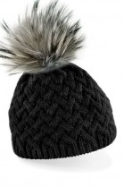 Knitted hat in black with a gray fur pompom in