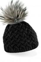 Strickmütze in schwarz mit einem Fellbommel in grau