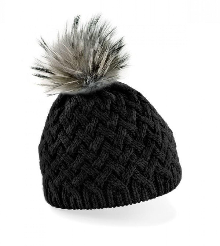 Schwarze Wollmütze mit Fellbommel