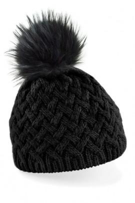 Bommelmütze schwarz mit einem dunkelbraunem Fellbommel