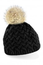 Black Beanie with light brown fur bobble