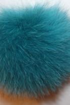 Blue fox pom-pom - Petrol