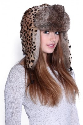 Aviator Hat in leopard print rabbit fur from fur hat