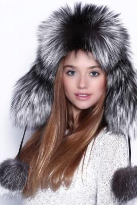 Silberfuchs Fellmütze Pelz-Mütze echt Fell
