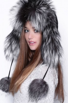 Silver fox fur hat Fur hat real fur