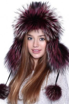 Silver fox fur hat fur hat cap bordeaux