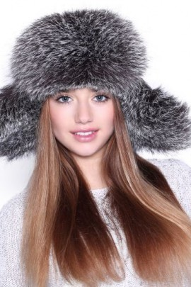 Fur Hat Aviator Hat Blue Frost genuine fur hat