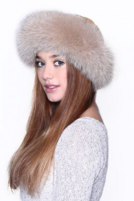 Fur Hat Fur Cap Mouton finished with blue fox