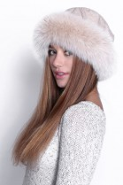 Cream-colored wool fur hat with fur edging