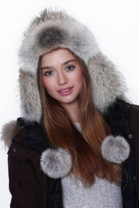 Fur hat fur hat with leather