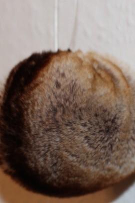 Rex rabbit fur fur bobble - Beige brown heather