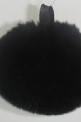 Rex rabbit fur fur bobble - Black