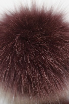 Blue fox fur bobble Pelzbommel- Dark Aubergine