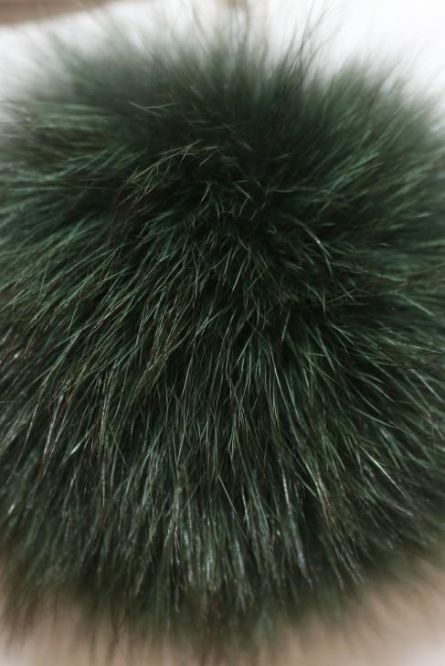 Blaufuchs Fell Bommel Pelzbommel-  Tannengrün