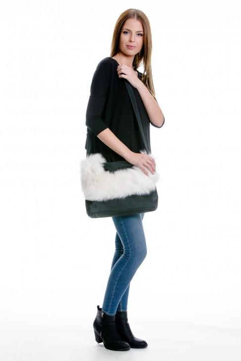 Fur coat blue fox fur bag bag
