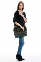 Fur bag with blue fox fur genuine refined