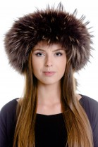Finnraccoon headband fur fur fur band headband - brown