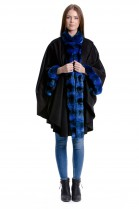 Echt Original Chinchilla Pelz Cape blau Luxus Fell Fashion