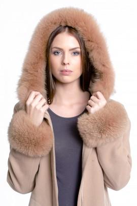 Fox fur hood including attaching Service