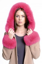 Fur hood Fuchs including attaching Service in pink