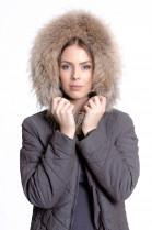 Fur hood fur hood mass production Finnraccoon beige