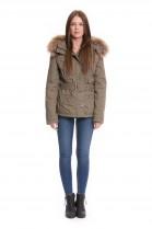 Parka jacket with fur hood fabric jacket with fur hood