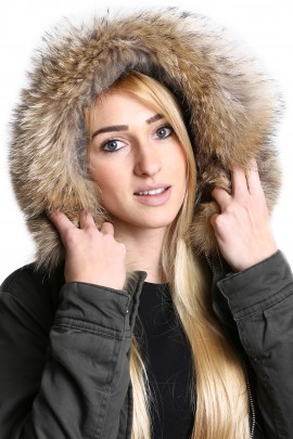 Be affixed fur hood fur collar Premium Finnraccoon