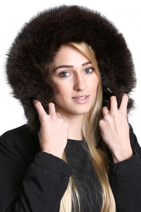 Brown fur hood fur collar Premium incl. Attaching Service