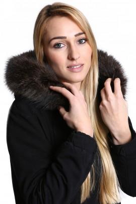 Premium Fellkapuze maßgeschneidert  Pelzkragen dunkelbraun