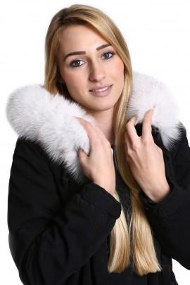 Fellkapuze Premium Fuchs in weiß inkl. Anbring Service