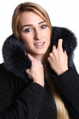 Premium Pelzkragen nach Maß Fellkapuze mitternachtsblau