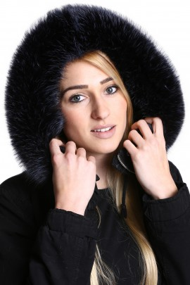 Premium midnight blue fur collar custom made fur hood