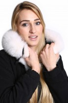 Fellkapuze in Premium schneeweiß Pelzkragen nach Maß