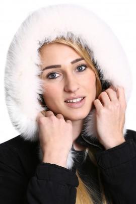 Premium Fellkapuze schneeweiß Fellkragen Anbring  Service