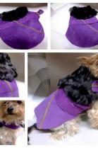 LUXURY DOG COAT LEATHER & FUR LAMB PURPLE / BROWN TONES