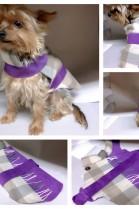 Luxus Hunde Mantel Echt Leder & Stoff Lila /Braun Mit Gürtel