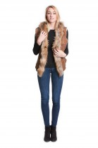 Lambskin with Finnraccoon vest genuine fur vest to measure